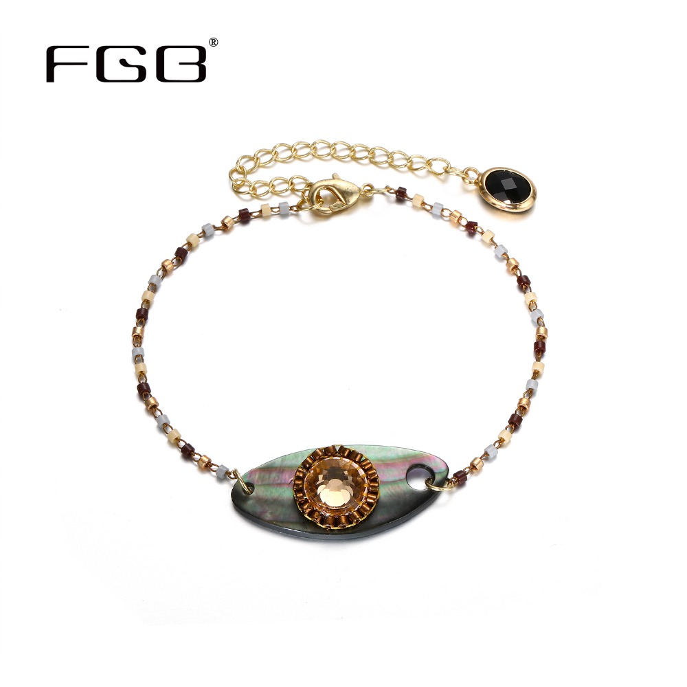 FGB Delicate Retro Shell Bracelet Japanese Glass Beads Braclet For Women Big Adjustable Fashion Jewelry 2018 Top Women Accessory