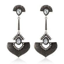 Indian Vintage Silver Oxidized Big Fan Statement Rhinestone Jhumka Drop Earrings for Women Bohemian African Nepal Ears Jewelry