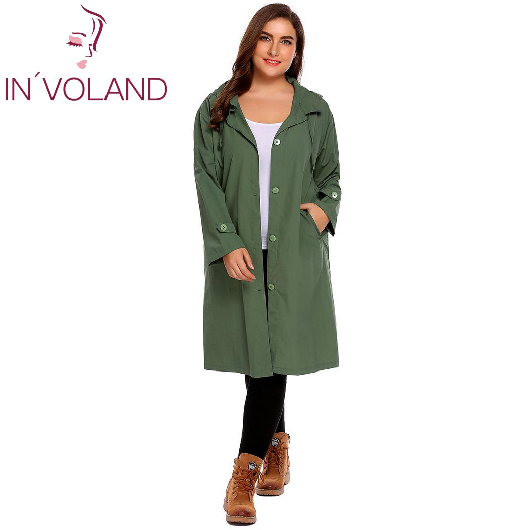 IN'VOLAND Women's Trench Coat Plus Size XL-5XL Hoodie Windbreaker Solid Pockets Button Lightweight Raincoat Overcoat Big Size
