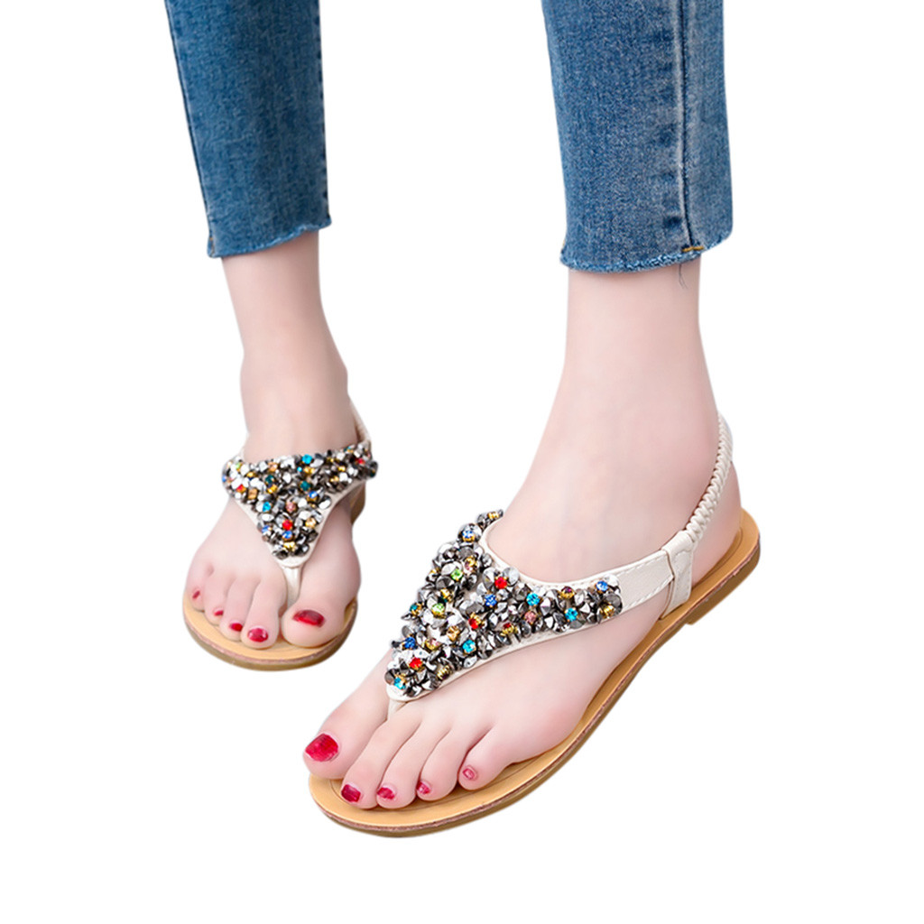 Elastic Band Rhinestone Sequins Flip Flops Waterproof Platform Flat Sandals for Girls,Beige,36,United States