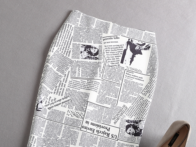 black white newspaper print pleated high waist sexy ladies pencil skirts 1