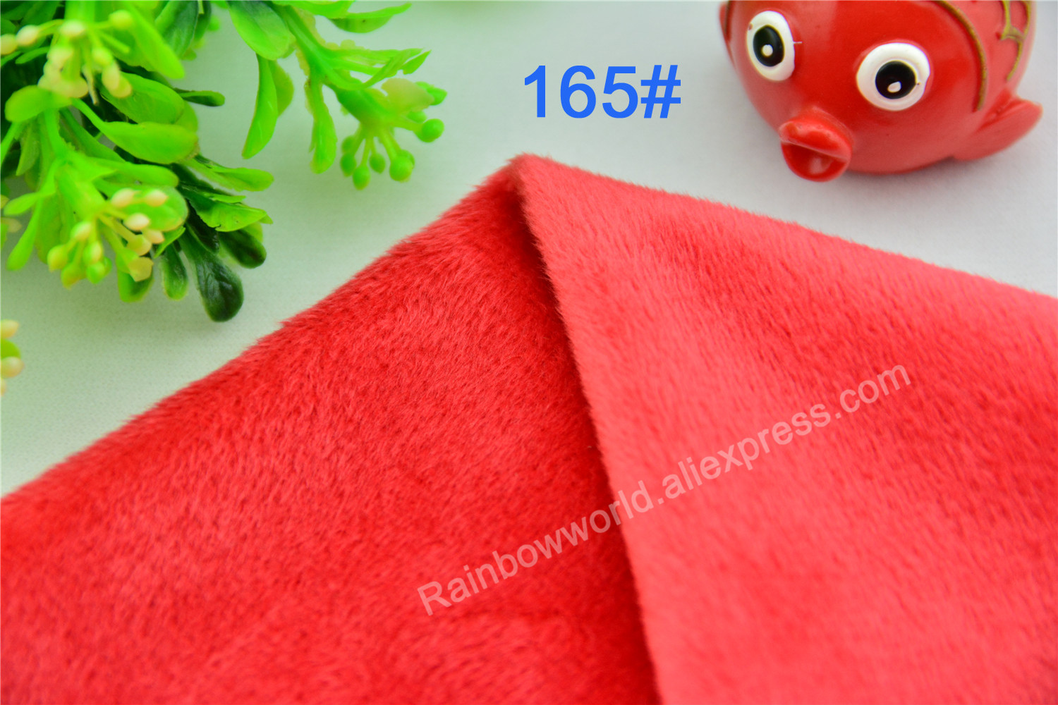 165# Red Color Super Soft Short Hair 2-3mm Fleece Fabric Velvet Microfiber Velboa for DIY Patchwork Toy Shoes Sofa Pillow