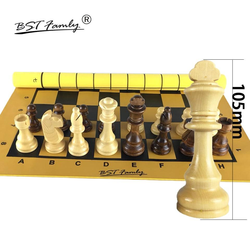 BSTFAMLY Wood Chess Set International Chess Game Checkers PU Fiber Folding Chessboard King 105mm Chessman Toy Gift Teaching I101