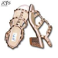 2017 Rivet Women Sexy Heel Sandals Luxury Designer Genuine Really Leather Shoes Lady Summer Comfortable European