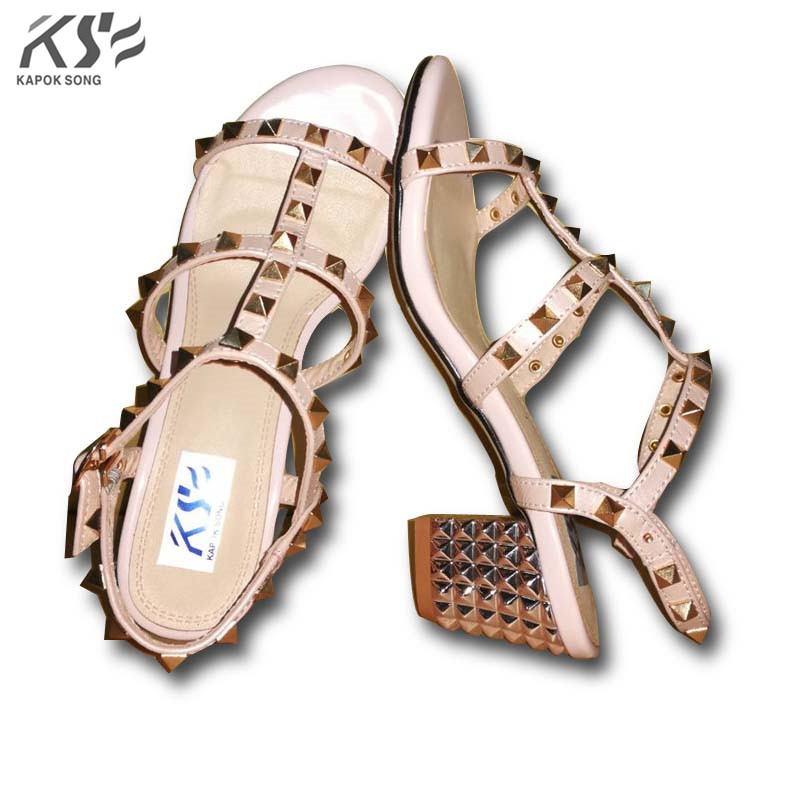 2017 rivet women sexy heel sandals luxury designer genuine really leather shoes lady summer comfortable european fashional shoe 2017the mostfashion trends european and american brands genuine flowers ladies luxury short shoes club sexy women s shoes