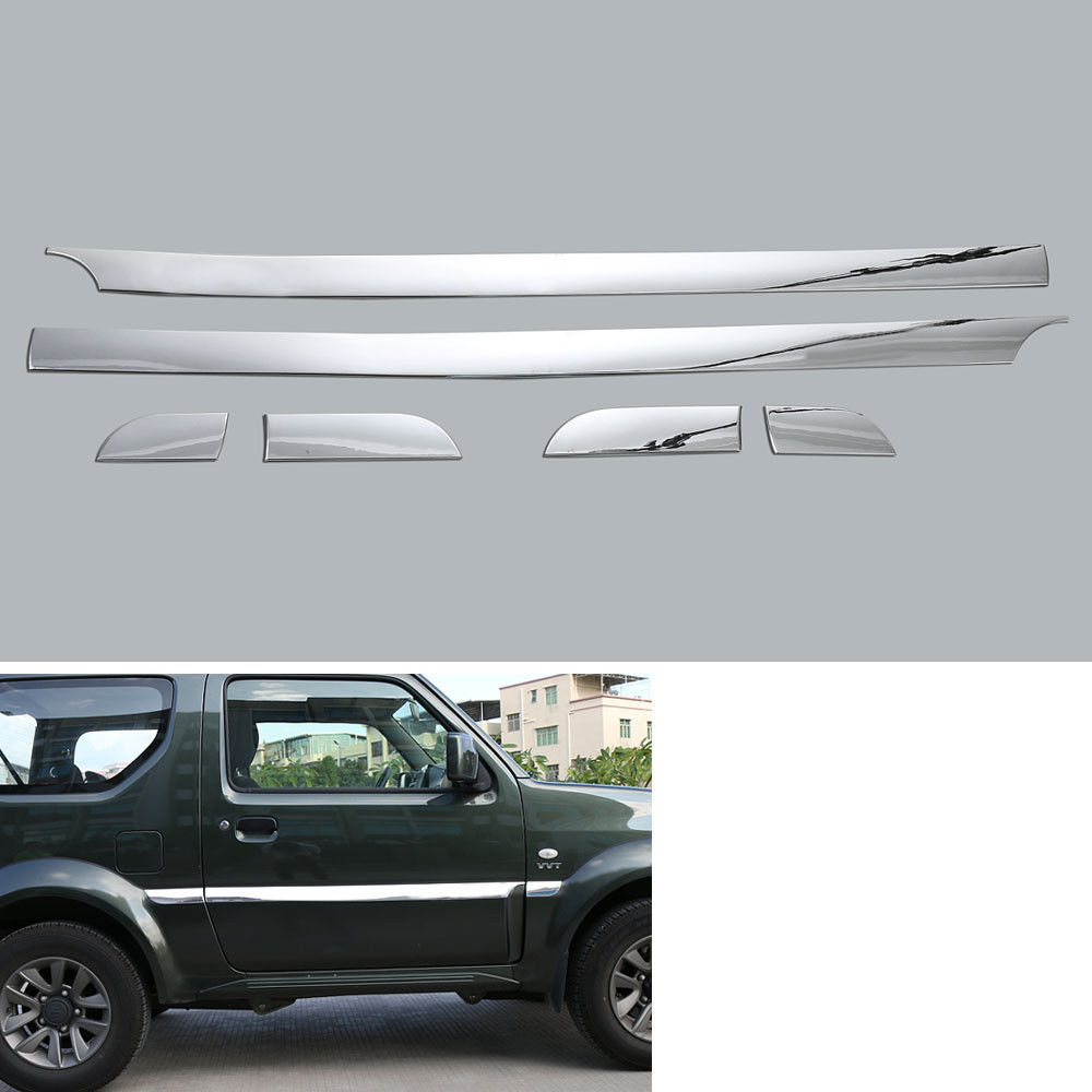 6Pcs ABS Chrome Car accessories Body Door Side Molding Cover Trim For Suzuki Jimny 2007-2015 Car trim decoration decals strips abs exterior decoration car body door side molding trim styling for jeep renegade 2015 up