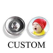 1pcs Custom 18mm Photo Glass Cabochon Snap Buttons Diy Snap Jewelry for Customize Handmade Charm Bracelet Craft Supplies(China)