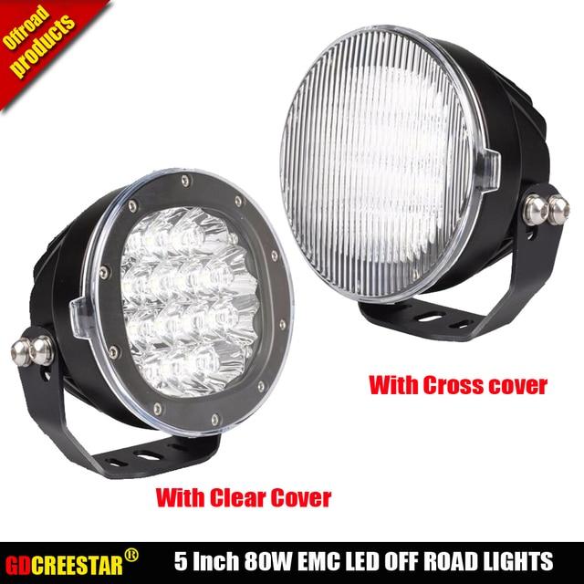 Round Black 5inch 80w Led Work Lights 4x4 Off Road Spotlights Car