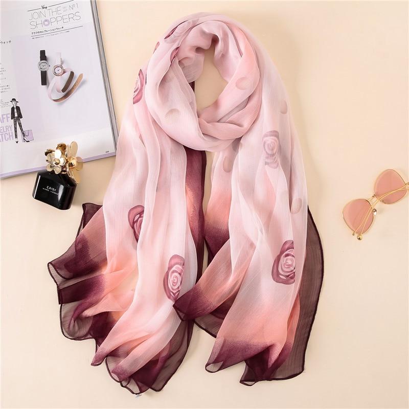 new 2018 brand women scarf summer silk scarves shawl and wrap lady pashmina female bandana vintage large size sunscreen hijab