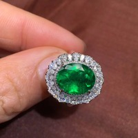 GRS Colombia Fine Jewelry G18k Rings Real Diamonds 18K Gold Natural Emerald Gemstones Female Wedding Rings for women Fine Ring