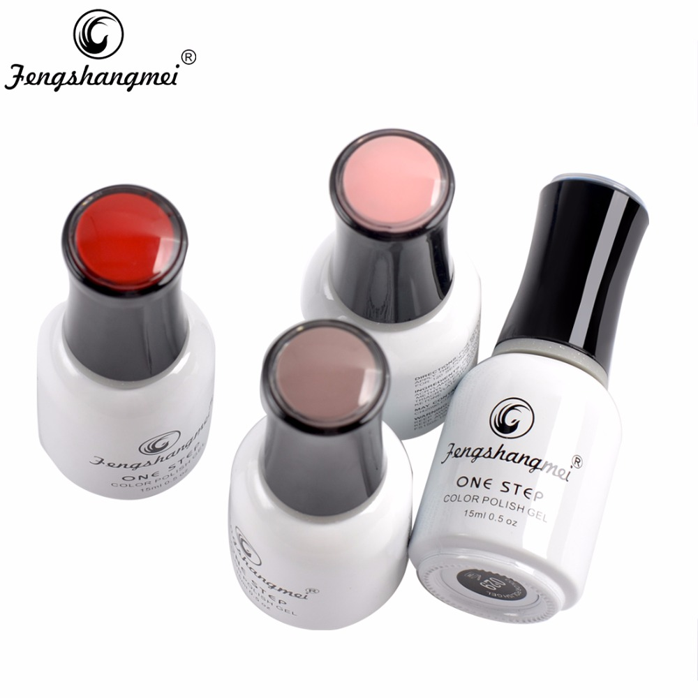 Fengshangmei One Step Gel Neglelakk 3 i 1 Farge UV Led Varnish Soak Off Smalto Nail Gel 15ml