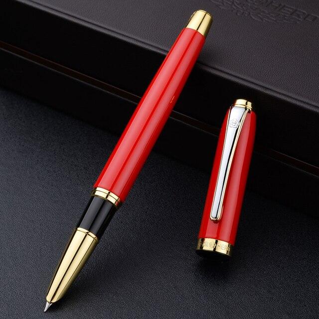 Gouden Clip Rode Vulpen Hoge Kwaliteit Blauw Zwart Hooded Nib 0.5Mm Metalen Schrijven Kantoor Pennen Luxe Relatiegeschenk met Doos