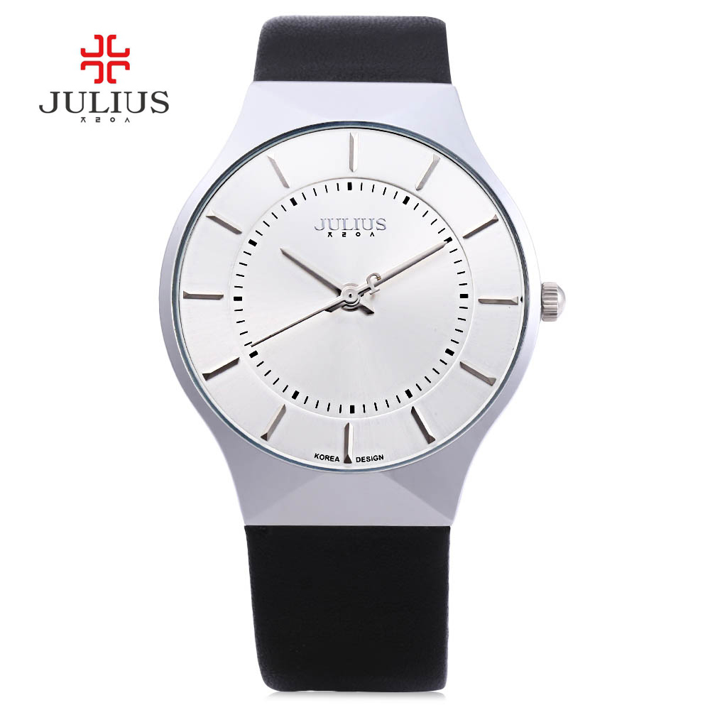 Men Watch Luxury Brand Julius Quartz Watch Ultra Thin Full Genuine Leather Clock Male Waterproof Casual Sport Relogio Masculino