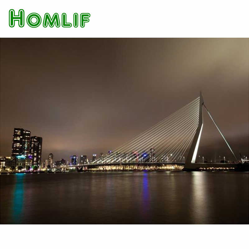 HOMLIF Netherlands 5d diy Diamond embroidery Rotterdam skyline diamond painting Cross Stitch full square drill Rhinestone mosaic