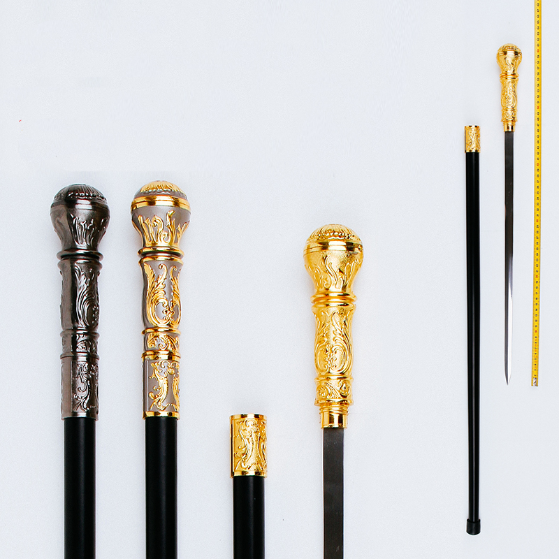 sword cane Mountaineering stick self protection prop Stainless steel material 90cm long four color metal cane