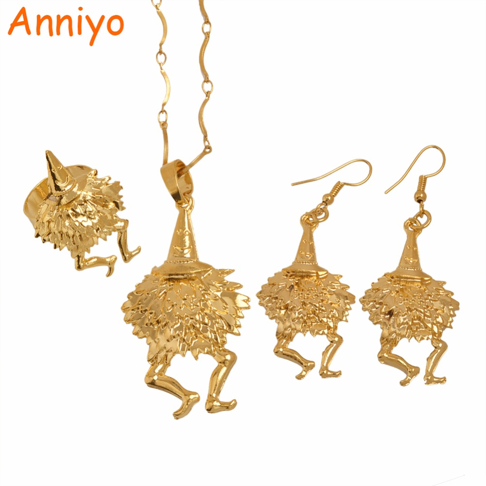 Anniyo Gold Color Bird Pendant Necklaces/Earrings/Resizable Ring,Papua New Guinea Jewellery PNG Style Gifts #085506R