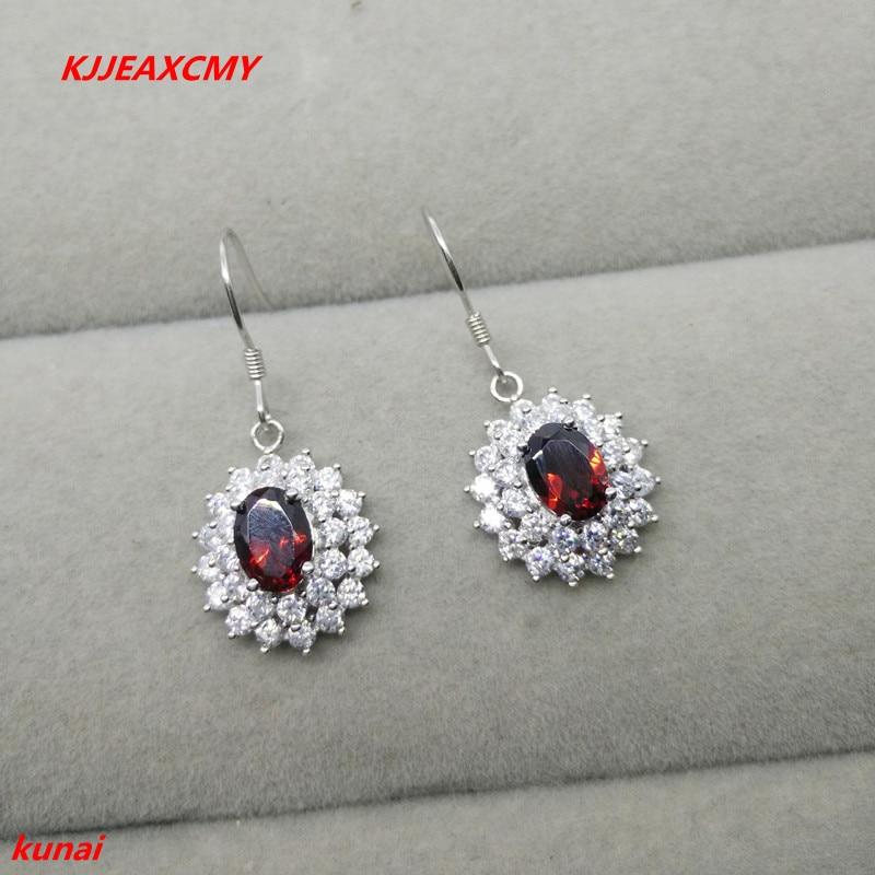 KJJEAXCMY fine jewelry 925 silver inlaid with natural garnet jewelry ladies' earrings.
