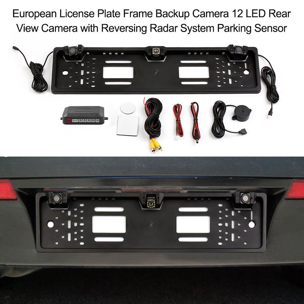 European License Plate Frame Backup Camera 8 LED/12 LED Rear View Camera With Reversing Radar System Parking Sensor