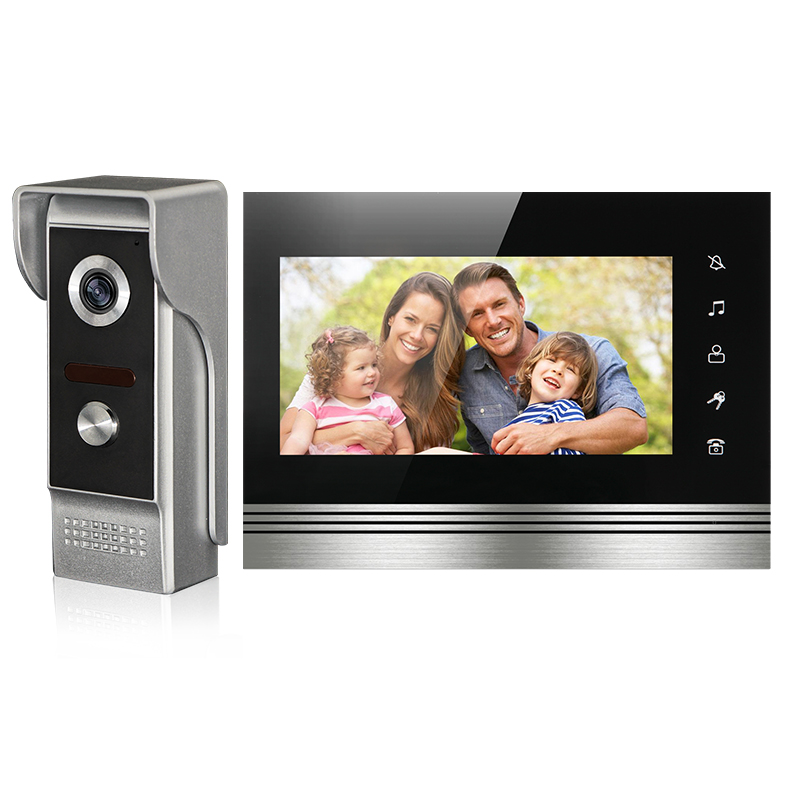 FREE SHIPPING NEW 7 Color Screen Video Door Phone Doorbell Intercom System Touch Key Monitor + Waterproof Night Vision Camera brand new wired 7 inch color video door phone intercom doorbell system 1 monitor 1 waterproof outdoor camera in stock free ship
