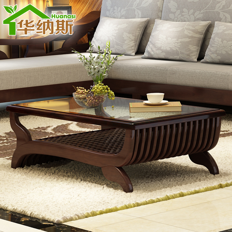 ... Pure solid wood furniture living room coffee table with drawers glass  logs teasideend from Reliable furniture glider suppliers on Sheng Co., Ltd  Store