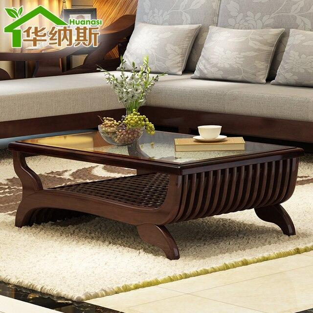 puur massief houten meubels woonkamer salontafel met laden glas