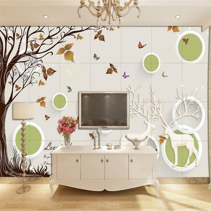 Us 1342 25 Offcustomizable 3d Photo Stereoscopic Minimalist Modern Mural Wallpaper Nordic Simple Tree And Bird Circle Living Room Bedroom In