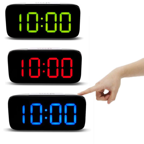 "New Large LED Digital Alarm Snooze Clock Voice Control Time Display 5/"" Screen"