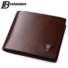 Bostanten New Men Short Wallets Balck Brown Bifold Wallet Mens Brand Leather Card holder Coins With Zipper Wallet Purses Pockets