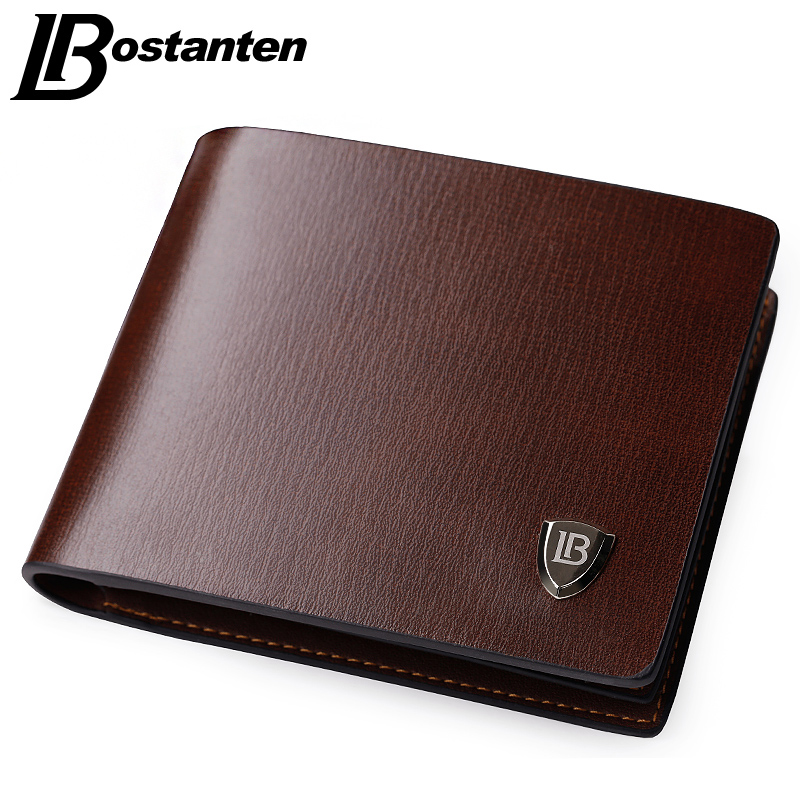 Bostanten New Men Short Wallets Black Brown Bifold Wallet Mens Brand Leather Card Holder Money Cash Wallet Purses Pockets hot sale leather men s wallets famous brand casual short purses male small wallets cash card holder high quality money bags 2017