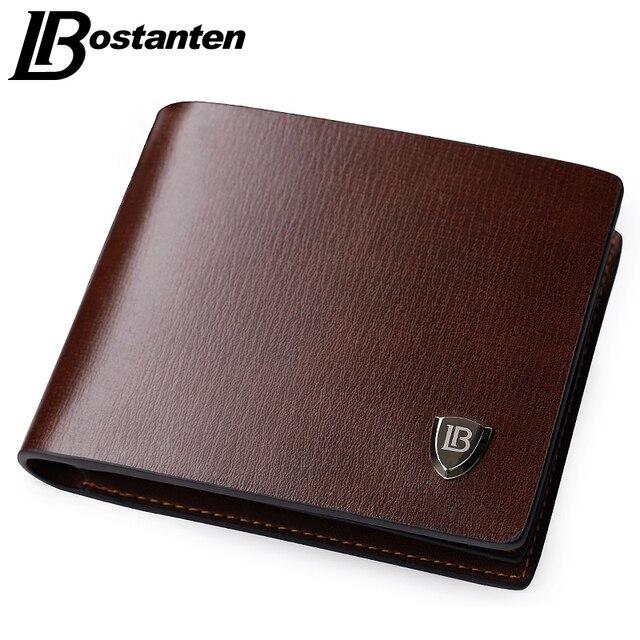 Bostanten New Men Short Wallets Black Brown Bifold Wallet Mens Brand Leather Card Holder Money Cash Wallet Purses Pockets
