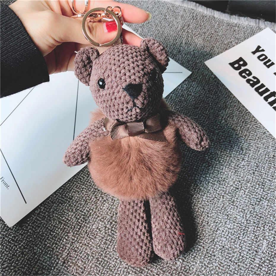 Relodi Faux Pele De Coelho Pom Pom Chaveiro para o Amante Do Urso Marrom Boneca Decoração Saco Cadeia Chave Do Carro Pingente para As Mulheres SP2423