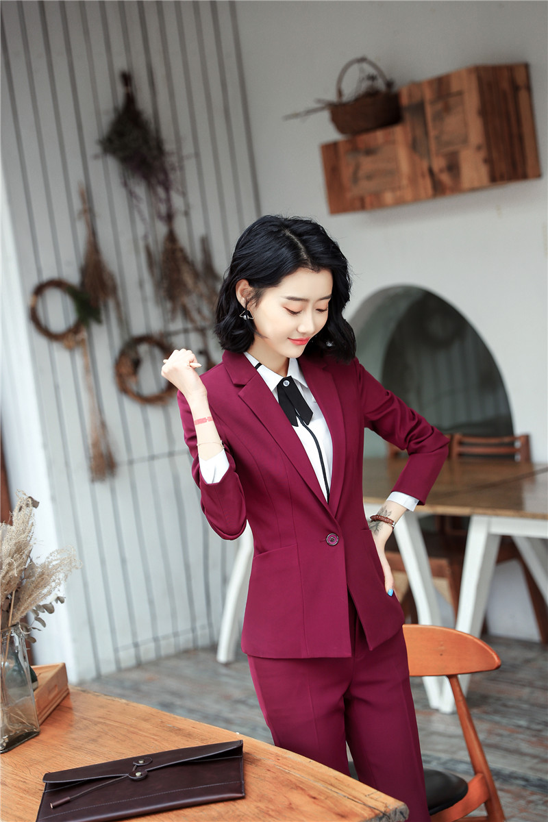 Uniform Designs Professional Formal Pantsuits With Jackets And Pants For Women Office Female Blazers Pants Suits Trousers Sets