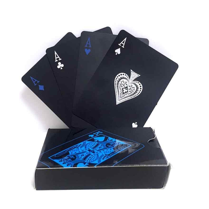 Качественный водонепроницаемый ПВХ пластиковый набор игральных карт тренд 54 шт палубный покер классический магический трюк инструмент чистый черный волшебный ящик-упакован