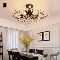Black Iron Crystal Flower Ceiling Light Fixture Rustic Country Contemporary Romantic Plafon Lustre Avize Lamp Dining