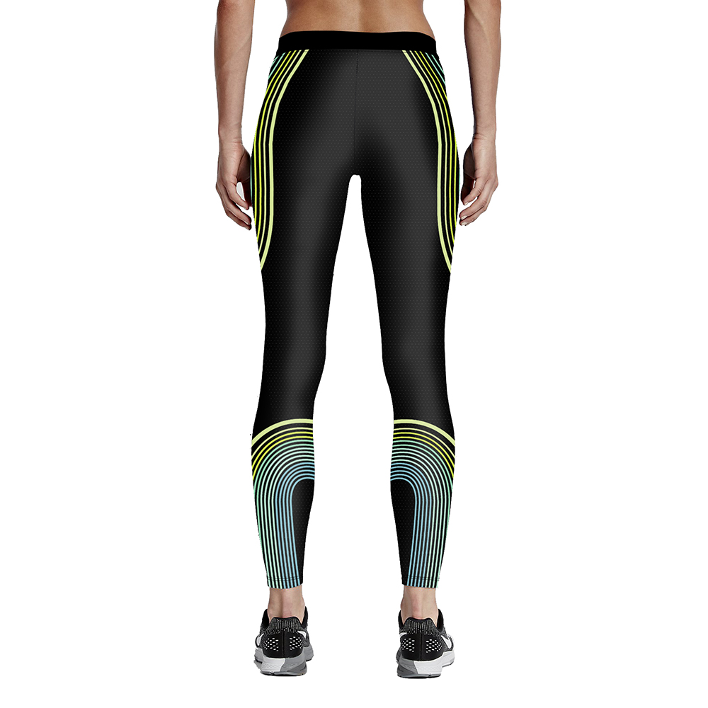 Hot sales New fashion digital print Woman fitness wave line color match 9-point tie waist pants Drop shipping/ Free shipping