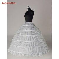 White/Black 6 Hoops Petticoat Crinoline Slip Underskirt For Wedding Dress Enaguas Para El Vestido De Boda Wedding Accessories