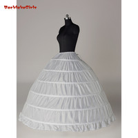 White/Black 6 Hoops Petticoat Crinoline Slip Underskirt For Wedding Dress Enaguas Para El Vestido De Boda Wedding Accessories