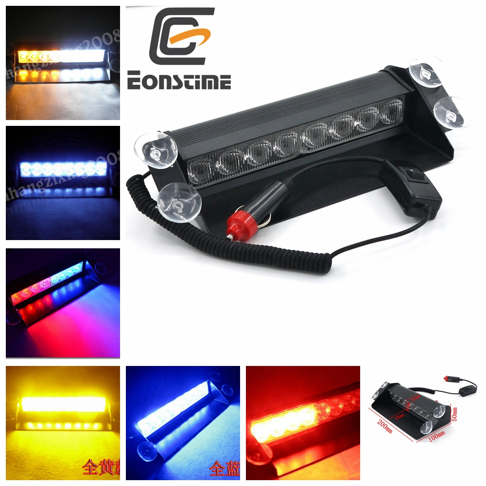 Eonstime 8 Led Flash Boat Truck Car Flashing Warning Emergency Windshield 3 Mode Police Strobe Light Lamp Blue Red White Amber 4 led 12 24v car strobe flash light white red amber light vehicle truck rear side light car emergency warning lamp drop shipping