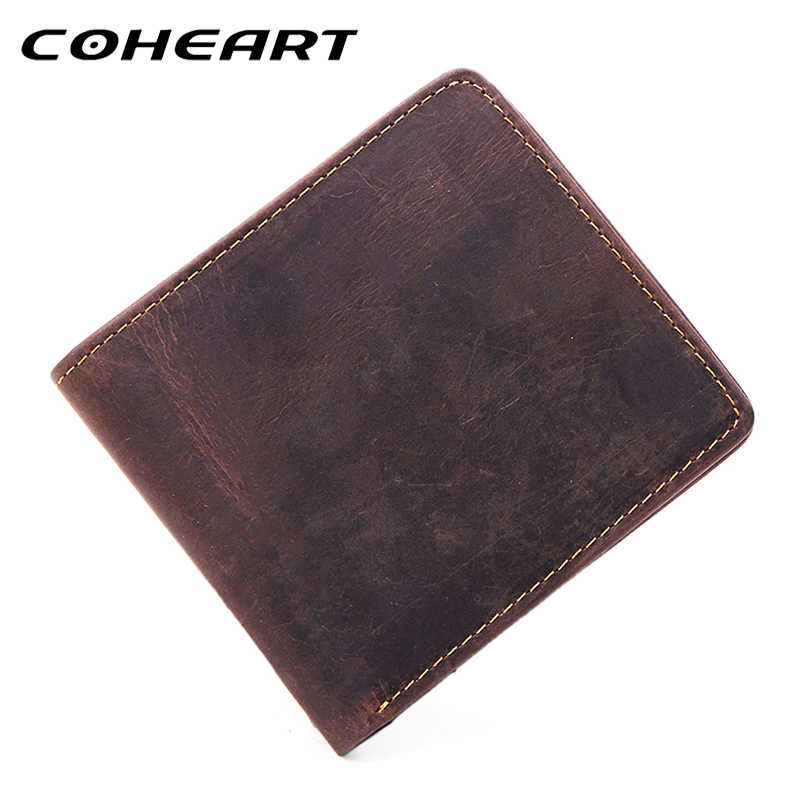 COHEART Crazy Horse Leather Wallet Men Vintage Purse genuine leather men wallets retro male purse small money bag Male Walle