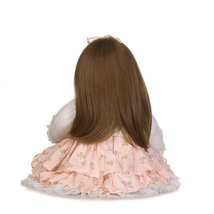 55 cm de cabelo longo silicone reborn boneca do bebê bonecas para crianças brinquedos para meninas 22 polegada da criança bebe bebês nascidos bonecas brinquedo npk presentes
