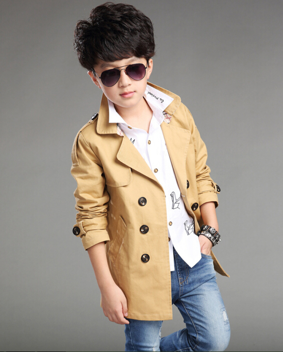 2015 Brand New Fashion Autumn And Winter Boy Windbreaker Children Double-Breasted Trench Coat Boy Outerwear Hot Sale 2016 autumn and winter new one breasted