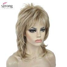 StrongBeauty Synthetische Pruiken voor Vrouwen Natuurlijk Haar Ombre Blond/Bruin Hoogtepunten Medium Krullend Gelaagde Capless Pruiken Cosplay