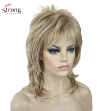 StrongBeauty pelucas sintéticas para mujer, pelo Natural Rubio degradado/marrón, reflejos, pelo medio rizado en capas, sin capa, Cosplay