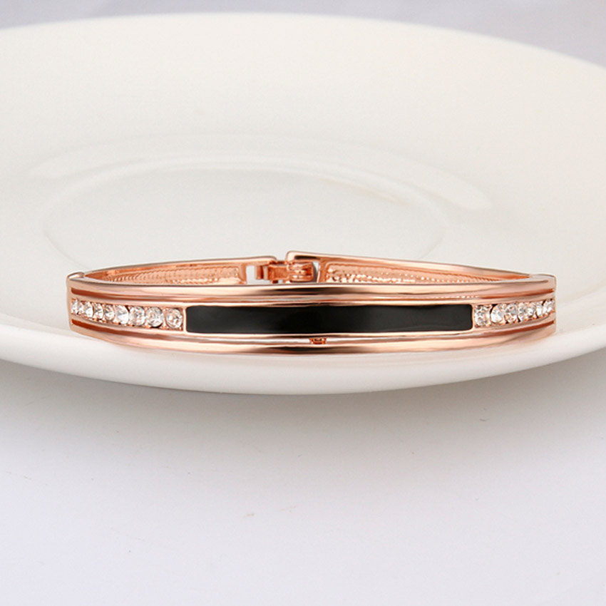 Black Enamel in Middle with Crystal Rhinestone Bracelet Rose Gold Color  Bracelet Cuff Love Bracelets   Bangles For Women-in Bangles from Jewelry ... 98f8268d76cc