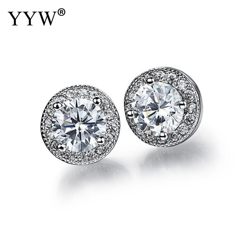 Stainless Steel Stud Earrings plated micro pave cubic zirconia & for woman more colors for choice 8x5mm Sold By Pair