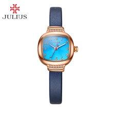 Nueva Julius Señora Reloj de Las Mujeres Elegantes Diamantes de Imitación de Moda Elegante Horas Vestido de Pulsera de Cuero de Regalo de Cumpleaños de la Muchacha