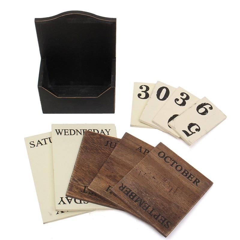 Black White Wood Desk Calendar Retro Vintage Wood Block Perpetual