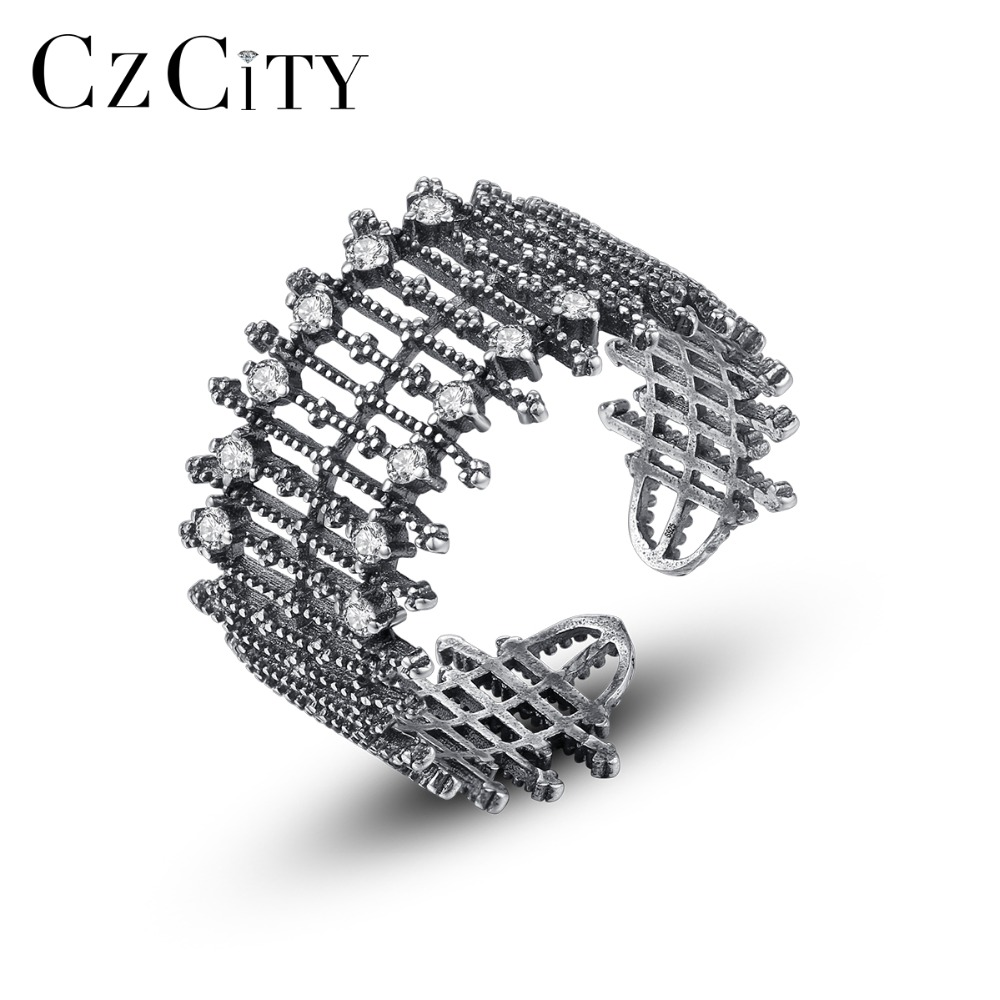 CZCITY New Exaggerating Style Individual Open Rings For Women Fashion Charming Female Party Rings Silver 925 Sterling Jewelry