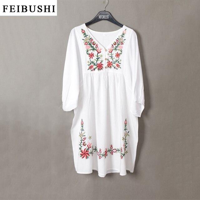 53d3b743aa8 FEIBUSHI Vintage Dress 50s Women Embroidered Pessant Hippie Blouse Gypsy  Boho Mini Dress Flower Linen Shirt Dress Plus Size