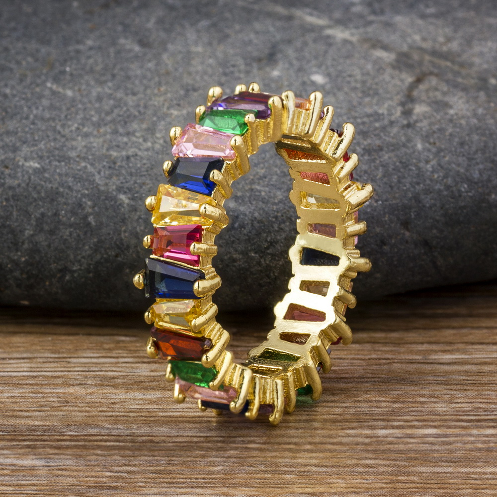 Hot Sale Thin Baguette Rainbow CZ Gold Ring For Women Fashion Engagement Wedding Band Top Quality Charm Jewelry 4
